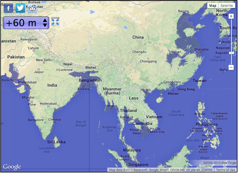 The ethics of rising sea level i tothesungod asia with 6m of sea level rise map courtesy of geology gumiabroncs