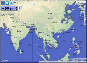 Asia with 6m of sea level rise--Map courtesy of geology.com