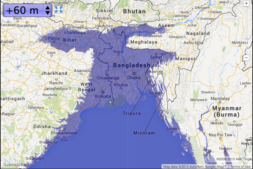 bangladesh with 60m of sea level rise map courtesy of geologycom