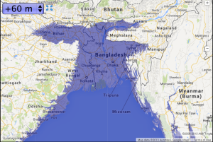 Bangladesh with 60m of sea level rise--map courtesy of geology.com