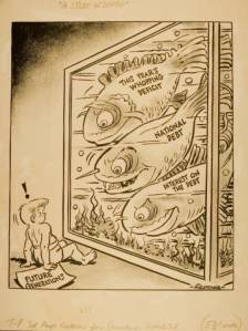 Cartoon by Elden Fletcher, owned by the University of Southern Mississippi