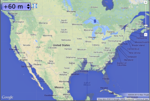 North America with 60m of sea level rise--Map courtesy of geology.com