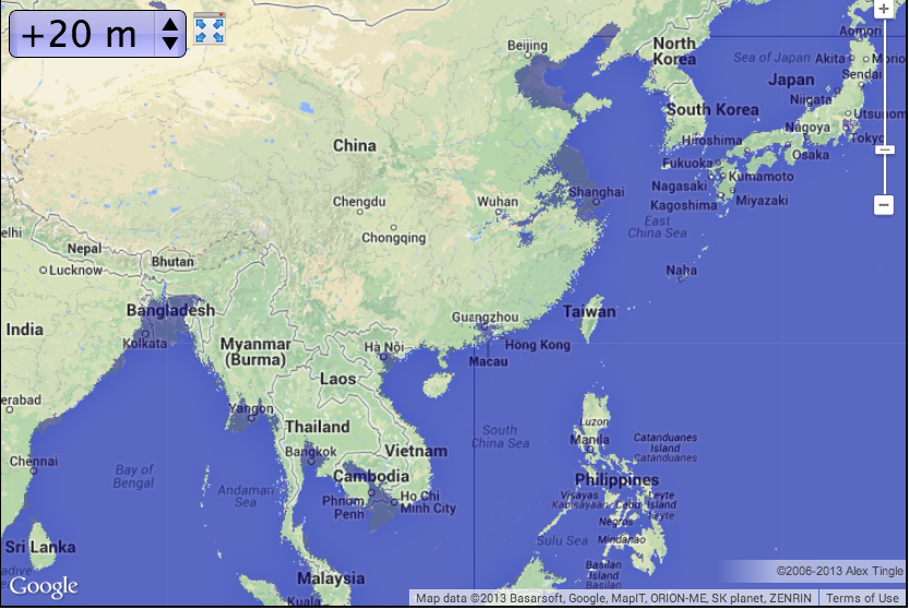 southeast asia with 20m of sea level rise map courtesy of geologycom