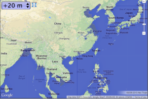 Southeast Asia with 20m of sea level rise--Map courtesy of geology.com