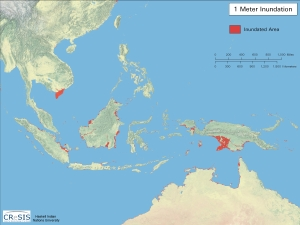 Southeast Asia with 1m of sea level rise--Map courtesy of CreSIS